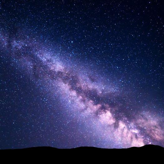 Paesaggio notturno con la Via Lattea